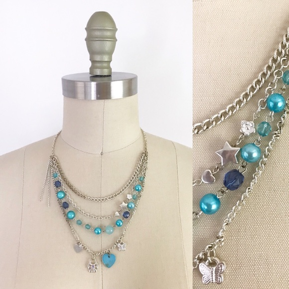 Jewelry - Turquoise Blue Draped Charm Necklace Strands 1077